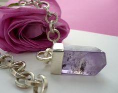 handmade, sterling silver, chain, with amethyst, by BIZARREjewelry on etsy.com