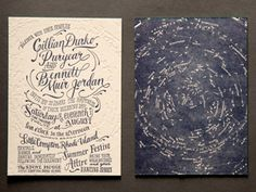 Ladyfingers Letterpress / celestial wedding invitation - wow, love the embossed constellations on the white side and the inky watercolor of the dark side. Beach Wedding Invitations, Wedding Stationary, Invites, Letterpress Invitations, Embossed Wedding Invitations, Wedding Programs, Invitation Cards, Stationery Design, Invitation Design