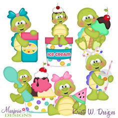 Turtles & Ice Cream SVG-MTC-PNG plus JPG Cut Out Sheet(s) Our sets also include clipart in these formats: PNG & JPG