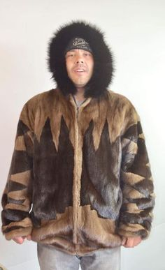 """MENS """"BadAr$$"""" Vintage 90's Mink Fur Reversible Leather Hooded Bomber  – BareFur"""