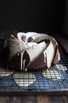Gingerbread bundt with coffee cardamom glaze