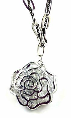 Rose Flower Shaped Pendant Necklace Crystal Swarovski Crystal Rhodium Plating #UPSERA #RosePendant