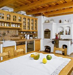 New house built in the old village interior/ rustic. Very common in the mountains, due to abundance of wood Home Decor Kitchen, Rustic Kitchen, Kitchen Living, Country Kitchen, Kitchen Design, Old World Kitchens, Home Kitchens, Building A Kitchen, Building A House