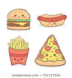 Stock Vectors, Images and Vector Art about Kawaii Burger Cartoon, Pizza Cartoon, Food Cartoon, Cute Food Drawings, Kawaii Drawings, Cartoon Drawings, Easy Drawings, Doodles Kawaii, Kawaii Art