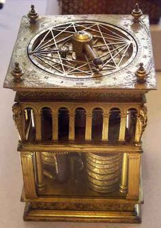 Table clock & astrolabe in the form of a tower with classical motifs.   c. 1550   French   Renaissance