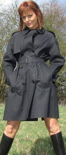 Black Satin Rubber Raincoat
