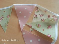 Waterproof bunting in 3 gorgeous shabby chic pvc fabrics. Bella and the Moo.