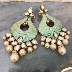 'ALiSHiA' earrings #seagreen #aqua #meenakari #meenakarijewellery #earrings #EarringsDesign