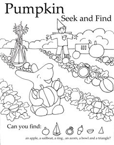 "This Pumpkin Seek-and-Find coloring sheet takes Peter Rabbit and turns him into ""Peter, Peter, Pumpkin Eater."" #free"