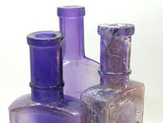 Purple pharmacy bottles 3 amethyst apothecary by OldeTymeNotions on Etsy.com