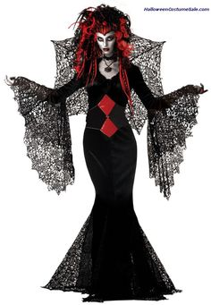 The ultimate Goth Nightmare! Floor length gown with webbed drop sleeves, belt and web wings. MR177180 Nightmare Wig sold separately. Made of 100% polyester fiber.  Sale price: $55.95  Purchase @ http://www.halloweencostumesale.com/adult-nightmare-black-widow-costume-grp-123mr147067-69.aspx