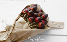 Strawberry Bouquet With Dark Cocoa  Psst...these are also gluten-free!