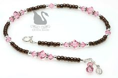 Anklet Jewelry Swarovski Crystal Pink and Brown Charm Beaded Anklet by Crystal Allure Beaded Jewelry Beaded Anklets, Anklet Jewelry, Body Jewelry, Beaded Jewelry, Beaded Bracelets, Making Bracelets, Jewelry Making, Clean Gold Jewelry, Black Gold Jewelry