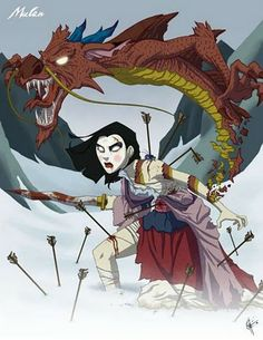 Evil Disney princesses - Mulan, I drew a copy of this! Love these twisted princesses Zombie Disney, Princesas Disney Zombie, Disney Horror, Creepy Disney, Dark Princess, Evil Princess, Zombie Princess, Disney Princess Art, Princess Theme