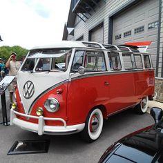 A beautifully restored 23 window Volkswagen Bus