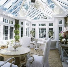 Closest thing we've found to a perfect conservatory. Like the traditional style that's substantial but still def a conservatory and quite different to anything that we have in the house. Dislike the black lines on the ceiling. Style At Home, Beautiful Space, Beautiful Homes, Orangerie Extension, Glass House, Outdoor Rooms, Outdoor Living, Architecture, My Dream Home