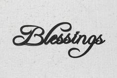 Blessings Word Metal Wall Art Fancy Script Font