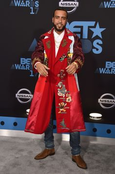 2017 BET Awards - Arrivals: French Montana French Montana hit the red carpet in an unforgettable satin overcoat.