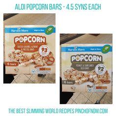 Aldi Popcorn Bars Pinch of Nom Slimming World Shopping Essentials Aldi Slimming World Syns, Slimming World Recipes, Aldi Syns, Healthy Biscuits, Pinch Of Nom, Almond Bars, Popcorn Bar, Picky Eaters, Free Food