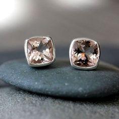 Morganite Gemstone and Sterling Silver Earrings, Cushion Cut Stud Earrings