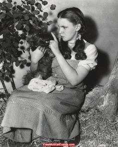 Judy Garland as Dorothy behind the scenes in The Wizard of Oz.