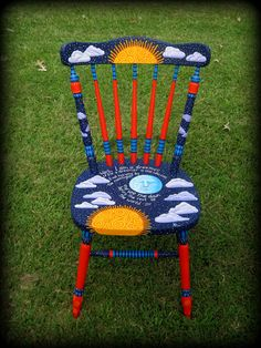 Step by step photos posted. All imagery and lettering is painted with a brush. Dreamer's Moon Chair by ReincarnationsDotCom Painted Kids Chairs, Whimsical Painted Furniture, Painted Stools, Hand Painted Furniture, Funky Furniture, Paint Furniture, Repurposed Furniture, Colorful Chairs, Decoupage