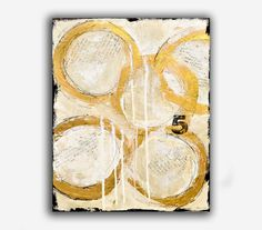 ABSTRACT PAINTING 16x20 art on wood, original painting gold and white