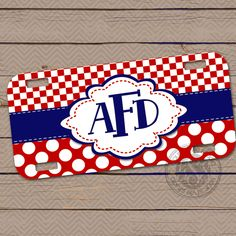 Personalized Monogrammed License Plate Car Tag Monogram License