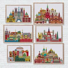 Cross stitch your love of travel favorite city country world symbol landmark