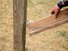 Hang the wood saddle rack for hoses, cables, wire and rope
