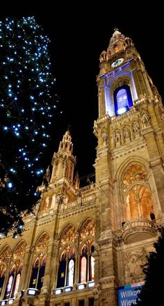 Christmastime town hall in Vienna, Austria