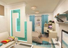Дизайн-проект(Гостиная, Спальня и Балкон) и комплектация под ключ однокомнатной квартиры под сдачу в аренду . Гостиная