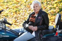 """Gloria Tramontin Struck, 89, has been riding motorcycles since she was a teen in Clifton, NJ. Story at the click! """"You have to concentrate on what you're doing... You have to have your eyes behind you, on the side of you, in front of you... It clears your mind. ... It's being free.""""  She plans to celebrate her 90th birthday at a motorcycle convention in Canada, surrounded by friends and fans."""