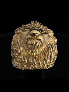 HUGE BRONZE RING MALE LION HEAD KING OF THE DJUNGLE LEO Zodiac Rings, Male Lion, Bronze Ring, Sagittarius, Leo, Lion Sculpture, King, Statue, Lion