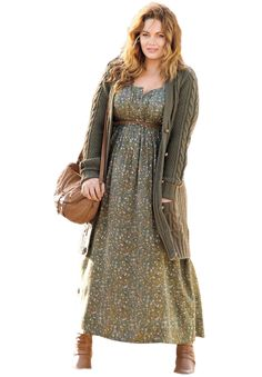 """Boho meets chic in the stunning and sweeping silhouette of this alluring plus size dress. this flattering dress beautifully fits the bodice, creating a flattering waist and A-lines away to a full sweep which creates a beautiful and elegant silhouette gracefully falling to about 52"""" the maxi length of this stunning dress gives ultimate coverage and style features a rounded gathered neckline, which is bra-friendly and provides complete coverage and femininity empire waist is stylish and..."""