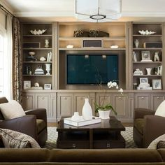 Family Room Design. Built-Ins painted a dark version of wall color with wall behind shelves an even darker version. White accessories stand out against dark gray. #Tvwallunits