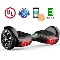 TOMOLOO Hoverboard with Bluetooth Speaker  LED Light and App Black Twowheel Self Balancing Scooter with UL2272 Certified -- Learn more by visiting the image link. (This is an affiliate link) #Scooters