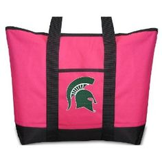 Michigan State University Pink Tote Bag MSU Spartans Logo - For Travel or Beach Best Unique Gift Ideas for Her, Women, or Ladies (Apparel)  http://www.99homedecors.com/decors.php?p=B004AGIZ52  B004AGIZ52