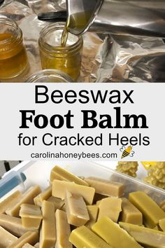 Beeswax Foot Balm | Remedies for cracked heels | #Balm Beeswax Recipes, Salve Recipes, Soap Recipes, Limpieza Natural, Diy Lotion, Lotion Bars, Honey Recipes, Homemade Beauty Products, Beauty Recipe