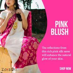 Feel pretty in Pink with Zoyashi!! With a whole new range of Silk Sarees, for more log onto: www.zoyashi.com or stop by at our studio C-14, Sushant Lok, Phase-I, Gurgaon. #SilkSaree #CareTip #Zoyashi #Ethnic #Wear #WeCare #MadeInIndia #Silk #Indian #Sari #RockThisLookWithZoyashi