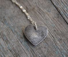 Custom gifts for mom: Heart fingerprint necklace by Heart and Flutter