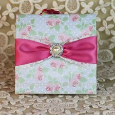 EA175---flower parttern wedding invitation card with ribbon