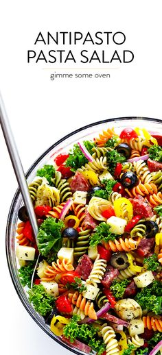 This Rainbow Antipasto Pasta Salad is the perfect way to use up leftover antipasto ingredients! Plus, it's easy to make, tossed with a zesty Italian herb vinaigrette, and absolutely delicious! Easy Pasta Salad Recipe, Healthy Salad Recipes, Pasta Recipes, Cooking Recipes, Rainbow Pasta, Rainbow Salad, Summer Pasta Salad, Summer Salads, Antipasto Pasta Salads