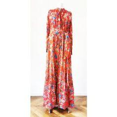 Rochie lunga Gipsy, imprimeu floaral, cu maneci lungi si nasturi, accesorizata cu cordon in talie Floral, Dresses, Fashion, Vestidos, Moda, Fasion, Dress, Gowns, Flowers