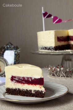 White chocolate mousse cake with raspberry filling!