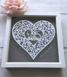 Personalised Anniversary Heart Design Papercut -mounted and framed Hey, I found this really awesome 25 Year Anniversary Gift, Silver Anniversary Gifts, Personalized Teacher Gifts, Personalized Labels, Box Frames, Frames On Wall, Paper Cutting, How To Memorize Things, Heart