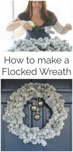 How to make a snowy wreath, easy flocked wreath, DIY flocked Christmas wreath  #wreaths #Christmaswreath #christmasdecor