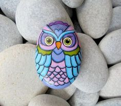 Rock Painted Colorful Owl by Lefteris