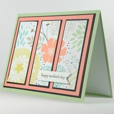 Handmade Mother's Day Card With Three Panels Of Bright Flowers | cardsbylibe - Cards on ArtFire