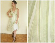 Green wedding dress  romantic retro In stripes vintage elegant